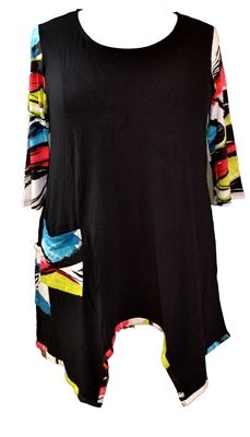 Inside Out Lorena Tunic in Black and Brush  Shapely feminine tunic with visual contrast has rounded neckline and colorful brush stroke detailing on the sleeves and pocket. The flattering cut of this outfit creates a perfect top for jeans, leggings or a skirt.