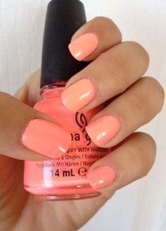 Summer peach nail polish color