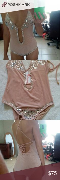 NWT Pool Party Runway Jeweled Nude Bikini Monokini Gorgeous and sexy nude monokini. This is a runway piece and is not meant to be in the water for 8 hours a day. So if you need a sexy swimsuit to impress everybody at a pool party this baby is yours. Head turner. Gentle hand wash, hang dry. Tags for exposure : Beach Bunny, victoria's secret, triangl, beach riot,frankie's bikini, mikon, kiini, posh pua, acacia, vuitton, fox, topshop, nasty gal, asos, missgiuded, bcbg, nalu, kim, bow, seafolly…