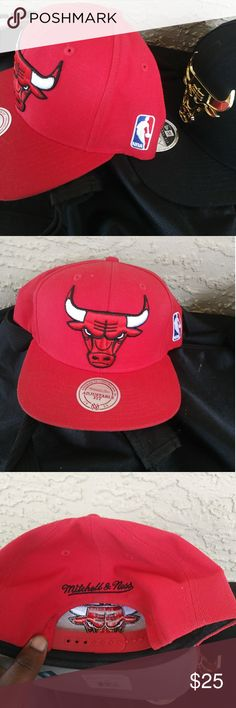 two Chicago bulls hats red and black hats Mitchell & Ness Other