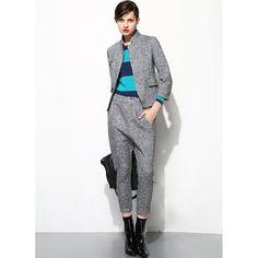 Standing Collar Italian Winter Suit Set