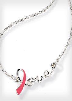 The proceeds from this silver-colored love necklace will benefit the Avon Breast Cancer Crusade. Find out where to buy it, and check out more awesome products that support the cause here: http://www.womenshealthmag.com/life/breast-cancer-awareness-merchandise-2013