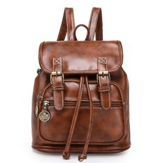 Hot Vintage-Style High-Quality PU Leather Fashion Backpack 4 Colors