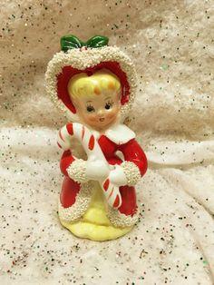 Vintage Christmas Angel Girl Candy Cane Figurine Tilso Japan Mid-century