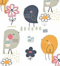 a little bird pattern. Kawaii Illustration, Butterfly Illustration, Pattern Illustration, Kids Patterns, Print Patterns, Textures Patterns, Cute Animal Drawings, Bird Drawings, Funny Paintings