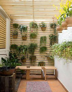 vertical garden using wood slats as a support structure