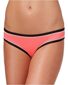 Bar III Womens Hot Tropic Blue Keyhole Hipster Swim Bottom Separates Size L