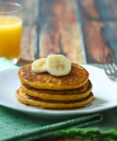Pumpkin Maple Pancakes via MealMakeoverMoms.com/kitchen #breakfast #pumpkin | Perfect for fall, made with whole grains and immune-bosting vitamin A, and delicious | From @MealMakeoverMom