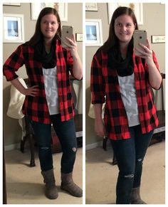Budget Mom Style Weekly #7: comfy casual with graphic tee, flannel boyfriend button down & distressed skinnies