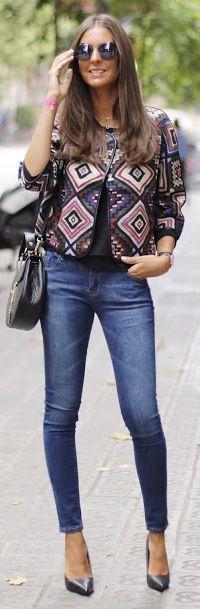 Aztec Print Jacket Fall Inspo by BCN Fashionista