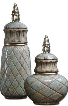 Uttermost Deniz Sea Foam Ceramic Containers S/2 19689