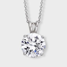 3.0 Ct. Round  14K Classic Pendant. Classic cubic zirconia pendant features a 3.0 carat brilliant round prong set in 14k white gold. An Italian cable chain is included, with your choice of 16 inch or 18 inch length. This high quality cubic zirconia pendant is also available in 14k yellow gold. Cubic zirconia weights refer to equivalent diamond carat size.