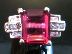 Pink Tourmaline 3.49 carat White Sapphire 10kt White Gold Filled Ring Size 5 #Unbranded #Cocktail