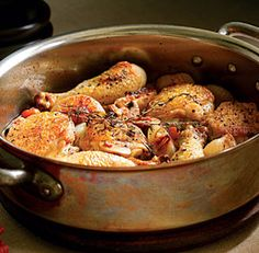 Braided Chicken Legs with White Wine, Bacon & Mushrooms - A large, straight-sided-ovenproof saute pan with a lid is ideal for making these chicken braises.