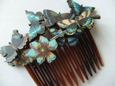 Woodland mini wooden butterflies hair comb blue by NewellsJewels