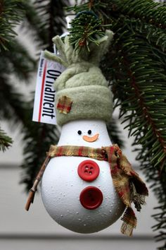 snowman+from+recycled+materials | Snowman Christmas Tree Ornament - made from a recycled lightbulb for ...