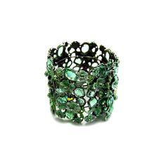 Camelia's Wide Green Flower & Rhinestone Bracelet, found on polyvore.com