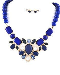 Gold Tone / Royal Blue Acrylic / Lead&nickel Compliant / Necklace & Post Earring Set