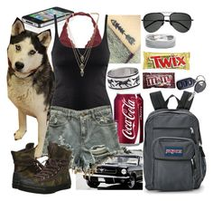 """""""Roadtrip"""" by werewolf-gurl ❤ liked on Polyvore featuring JanSport, H&M, Melanie Auld, Yves Saint Laurent, Candie's and Converse"""