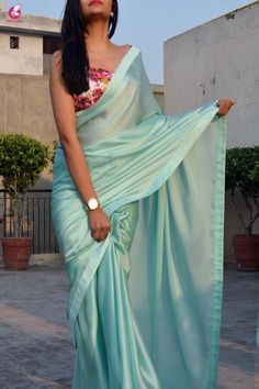Buy Sea Green Silk Georgette Saree - Sarees Online in India Satin Saree, Soft Silk Sarees, Georgette Sarees, Velvet Saree, Fancy Sarees, Party Wear Sarees, Indian Dresses, Indian Outfits, Sarees For Girls