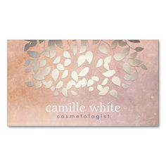 Elegant Cosmetology Faux Gold Foil Leaves Peach Business Cards   #businesscards http://www.zazzle.com/ctek101*