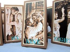 Custom Triple-Layered Tented Photo Table Numbers Shown in Brown, Cream and Blue. $8.00, via Etsy.