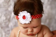 Valentines shabby flower on a red with by DanicasChicBowtique perfect for vday!