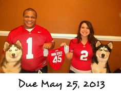 Adorable pregnancy announcement!!!! Ohio state, maternity with dogs, family pic