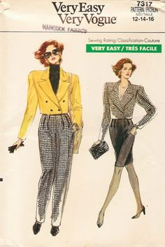 Vintage Sewing Pattern - 1988 Misses Jacket, Pants, and Skirt, Vogue 7317 Sizes . Fashion Mode, 80s Fashion, Fashion History, Vintage Fashion, Fashion Outfits, Stylish Outfits, Vintage Dress Patterns, Vintage Sewing, Vintage Outfits