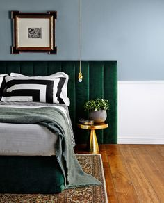Rich forest green velvet contrasts beautifully with notes of brass.   Lincoln **bedhead** and **valance** from [Heatherly…