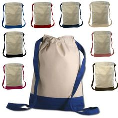 Two Tone Canvas Sport Backpacks / Wholesale Drawstring Bags BPK390