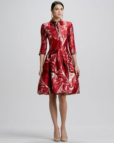 Versailles-Print Collared Shirtdress, Ruby by Oscar de la Renta at Bergdorf Goodman.     Duchess satin.     Spread collar; hidden button front.     Three-quarter sleeves with slit cuffs.     Formfitting bodice.     Pleated, full A-line skirt.     Side seam pockets.     Hem hits at the knee.     Silk/wool; dry clean.     Made in Italy.