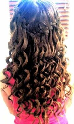 Waterfall braid with curls: Hair for volleyball banquet!!