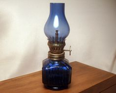 Miniature Oil Lamp / Cobalt Blue