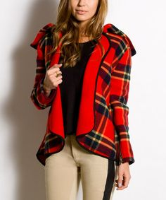 Take a look at this Red Plaid Wool Harper Jacket - Women by Natalia Romano on #zulily today!