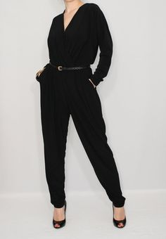 Black jumpsuit Long sleeve jumpsuit Batwing jumpsuit by dresslike