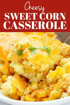 Sweet Corn Casserole - a classic corn pudding made from scratch, with a cheesy topping. No cornbread mix needed. Sweet Corn Casserole - a classic corn pudding made from scratch, with a cheesy topping. No cornbread mix needed. Baked Creamed Corn Casserole, Sweet Corn Pudding, Creamy Corn Casserole, Corn Pudding Recipes, Easy Casserole Recipes, Homemade Cornbread, Cornbread Mix, Cornbread Casserole, Cornbread With Corn