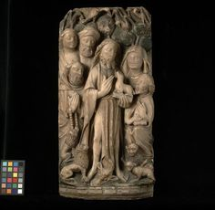 St John the Baptist preaching (Panel) - V & A, England, 2nd half 15th C, carved, painted and gilt alabaster
