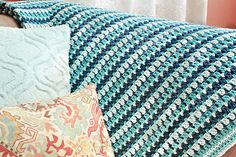 Gorgeous afghan with a simple and repetitive stitch pattern that lets your mind wander as you work … so restorative and meditative.