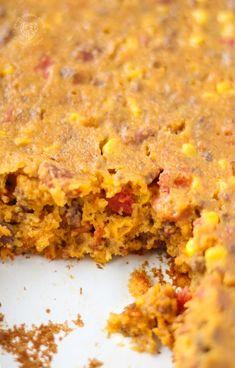 Beans And Cornbread, Cornbread Casserole, Cornbread Mix, Casserole Dishes, Casserole Recipes, Cowboy Casserole, Mexican Casserole, Corn Recipes, Meat Recipes