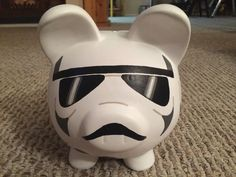 Stormtrooper Star Wars Hand Painted Ceramic Piggy by KaleyCrafts