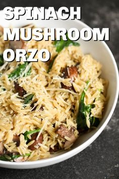 Need a new side dish idea? This creamy spinach and mushroom orzo is cheesy, filling, and so simple to prepare. Orzo Recipes, Spinach Recipes, Side Dish Recipes, Vegetable Recipes, Vegetarian Recipes, Dinner Recipes, Cooking Recipes, Healthy Recipes, Risoni Recipes