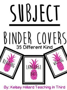 This product contains 35 Different Subject Binder Covers with a hot pink… Teacher Binder Covers, Sub Folder, Student Birthdays, Parent Contact, Response To Intervention, Brag Tags, Different Kinds, Teacher Resources, Social Studies