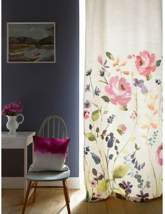 Let the colour in with floral fabric panels and modern curtains from bluebellgray. Feel good design with bold and colourful patterns for your home. Purple Curtains, Boho Curtains, Floral Curtains, Rustic Curtains, White Curtains, Bright Curtains, Roman Curtains, Luxury Curtains, Short Curtains