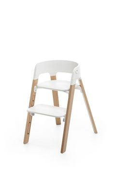 Scandinavian Designed High Chair with White + Wood Details + Modern + Neutral - Stokke Steps Chair