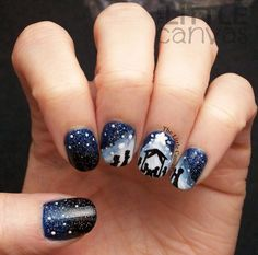 The Little Canvas: Merry Christmas! Nativity Nail Art The Little Canvas: Merry Christmas! Fingernail Designs, Gel Nail Designs, Cute Nail Designs, Nails Design, Christmas Gel Nails, Holiday Nails, Cute Nails, Pretty Nails, Hair And Nails