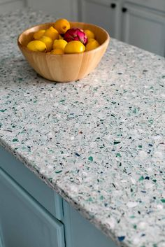 GlassEco manufactures recycled glass countertops and other hard surfaces that are elegant, ecofriendly and unique reflections of personal style. Recycled Glass Countertops, Quartz Kitchen Countertops, Terrazzo, Home Design Magazines, Charleston Homes, Dining Nook, Kitchen On A Budget, Kitchen Ideas, Glass Kitchen