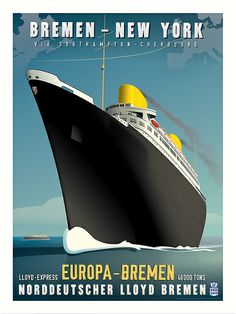 SS Europa Art Deco Travel Poster                                                                                                                                                                                 More