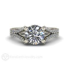 Forever Brilliant Moissanite Engagement Ring rareearthjewelry.com