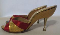 Vintage 50s Metal High Heels Shoes Red Satin Gold Peep Toe Wood Pinup Rockabilly #Ferncraft #Heels